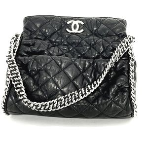 CHANEL Black Hobo Quilted Chain Tote Bag